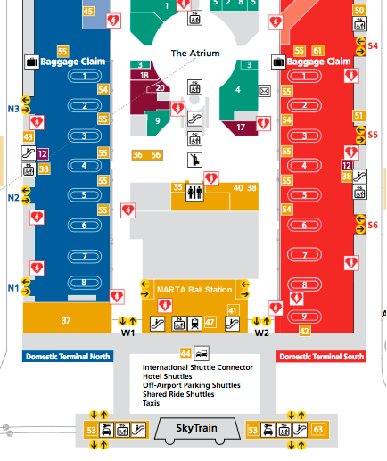 Atlanta Airport Map South Terminal MARTA