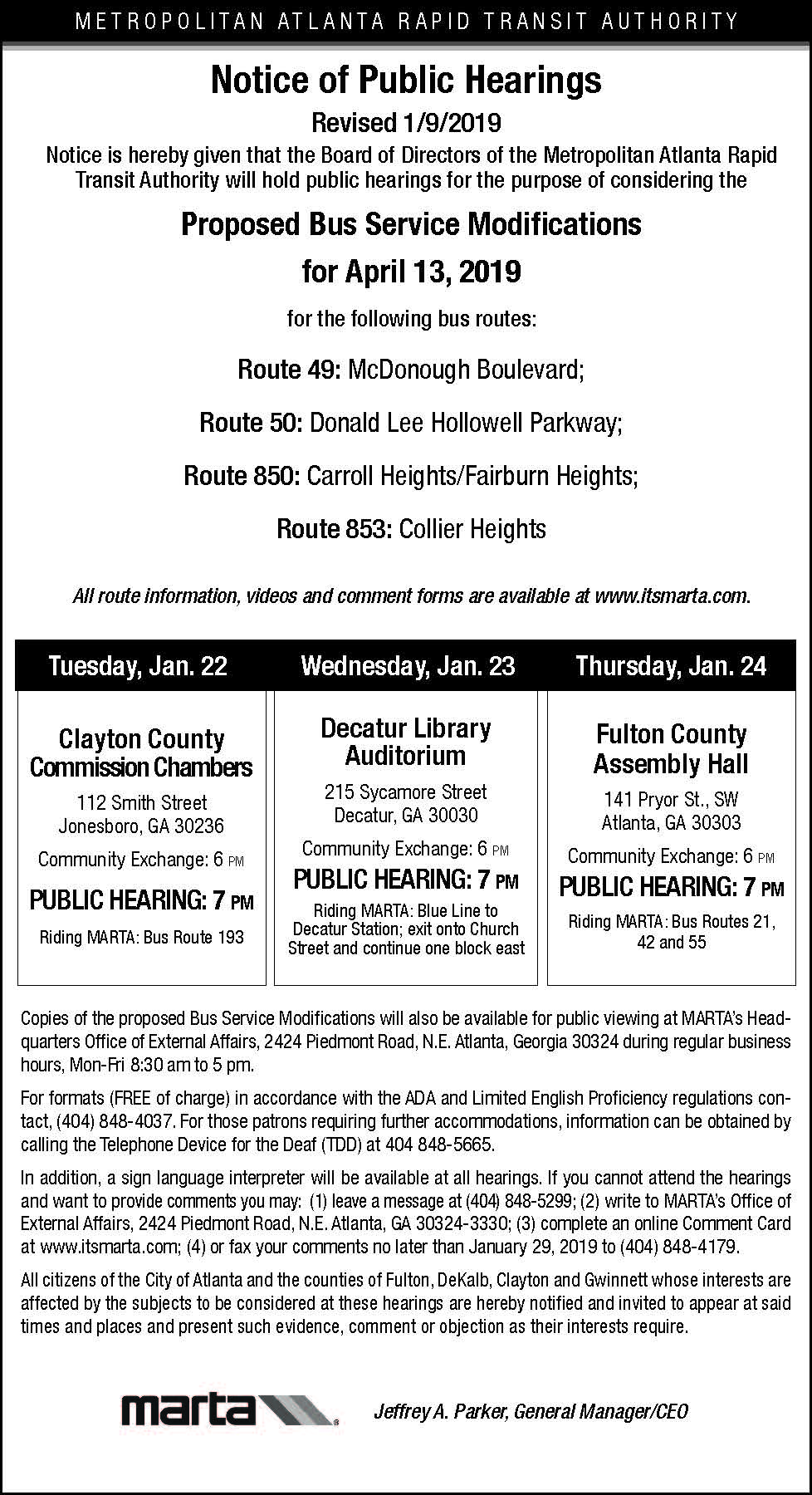Jan 2019 Public Hearings for Bus Service Changes Updated